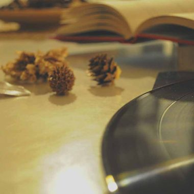 vinyl and a book on a table