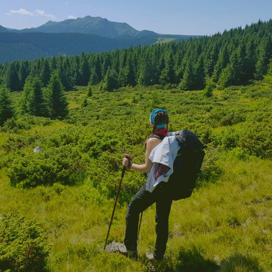 backpacker in nature, mountain area